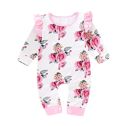 Simplee kids Baby Girl Newborn Clothing Set Long Ruffle Sleeve Fall Cotton Pink Flower Bodysuit Floral Jumpsuit for 0-3 Months