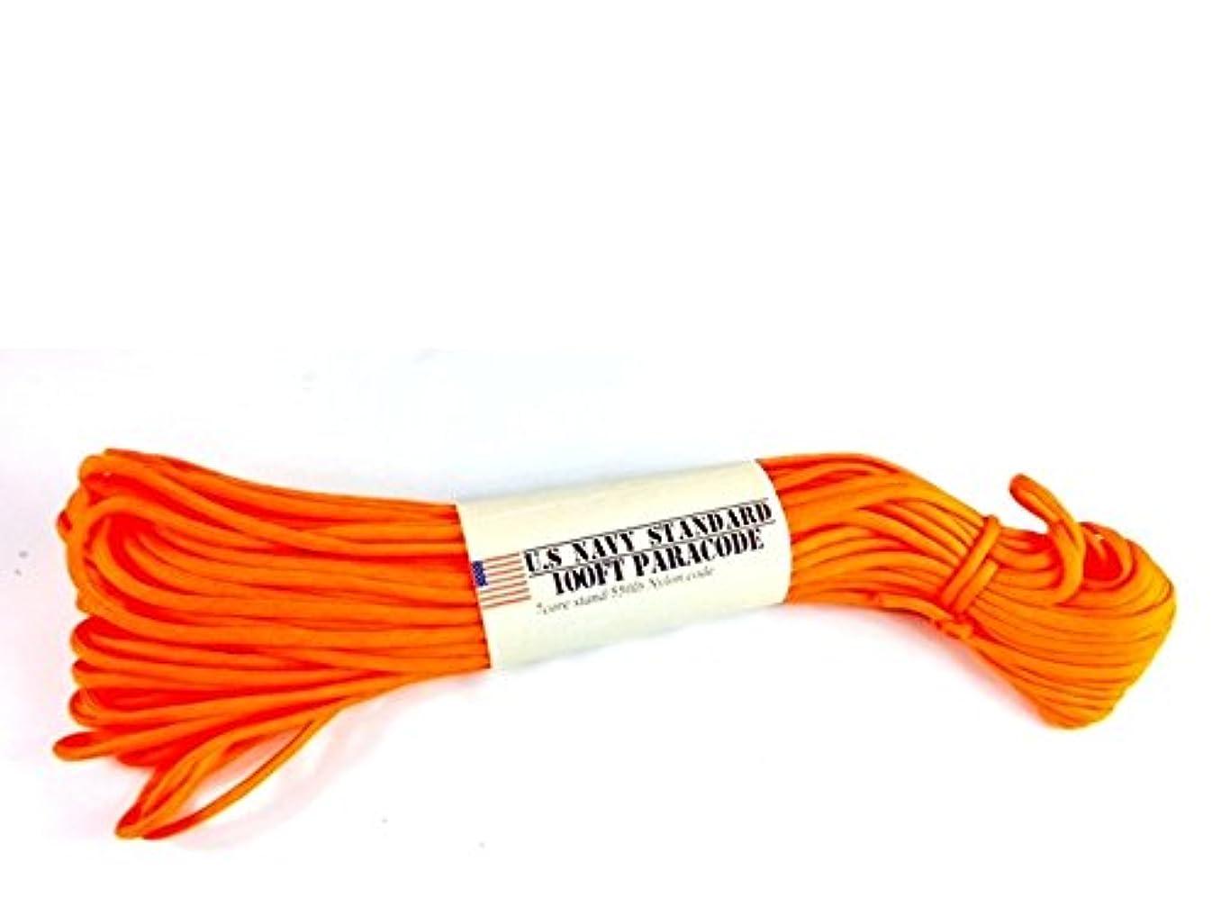 綺麗な有名人政治的アウトドア キャンプ サバイバルロープ 30m ホイッスル付 パラシュートコード 橙 US NAVY STANDARD