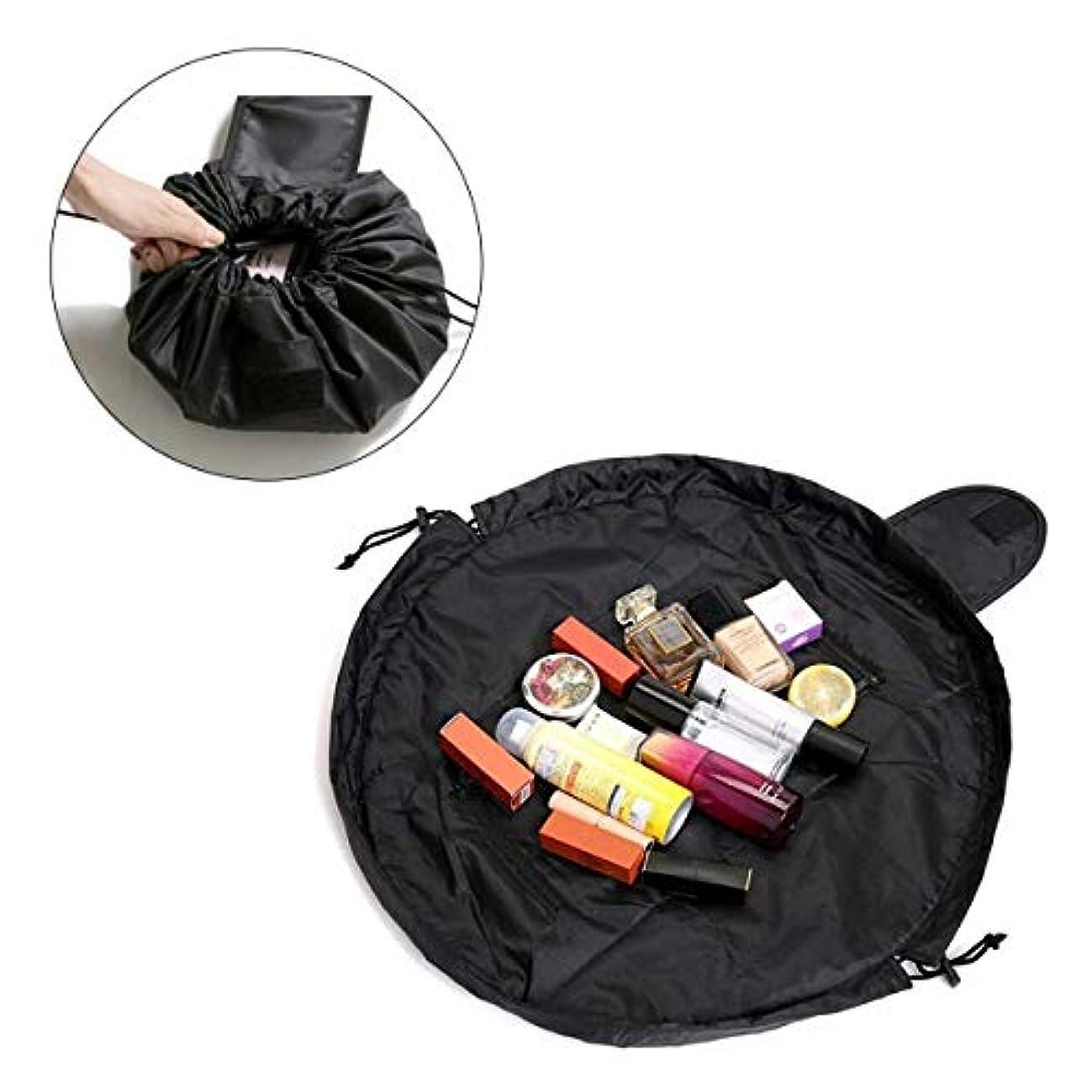 トピックギャング毎月Pichidr-JP 速い化粧袋旅行浴室のための携帯用多機能の防水ビロードの円形の化粧品袋、黒