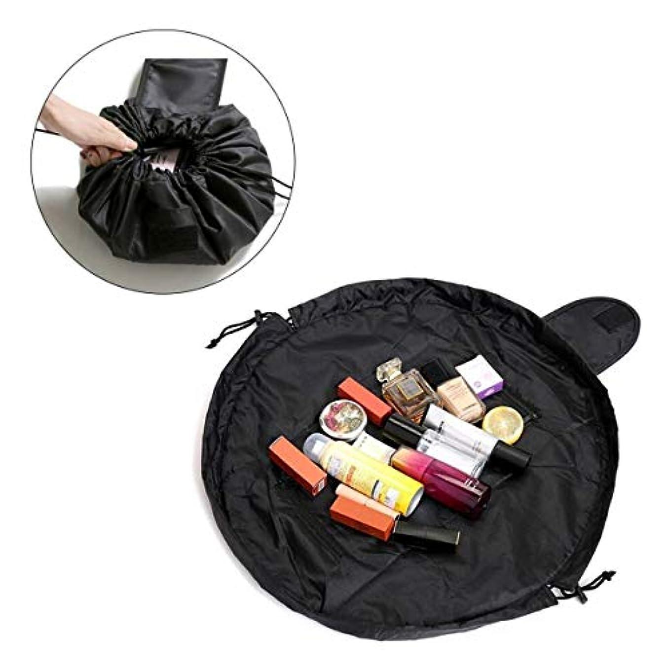 エロチックバンクいつでもPichidr-JP 速い化粧袋旅行浴室のための携帯用多機能の防水ビロードの円形の化粧品袋、黒