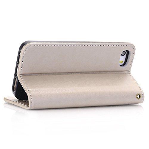 Ucasecover iPhone5 / iPhone5s / iPhone SE 手帳型 PUレザー材質 スタンド機能 マグネット式 バンパー ケース カバー 財布型 カード 全面保護 アイホン アイフォン5ケース アイフォン5sカバー アイホンSEバンパー  アイホン5Sバンパー 防塵保護 スマホケース スマホカバー スマートフォンケース スマートフォンカバー 携帯 保護カバー フラワー 蝶々 グレー