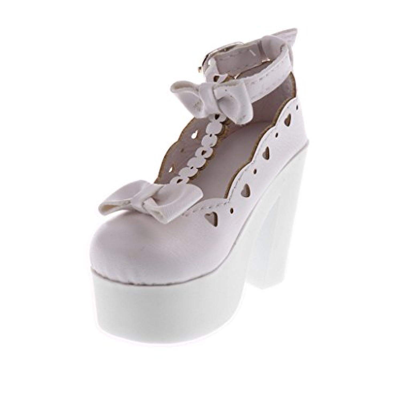 Blesiya 3色選ぶ ファッション アンクル ベルト ハイヒール 靴 PUレザー製 1/3 BJD SDドール用 アクセサリー - 白