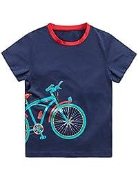 KID1234子供服 tシャツ キッズ ティーシャツ 男の子ロング カットソー ボーイズ 半袖 カジュアル 自転車柄刺繍可愛い 長袖上着 ジュニア用ベーシックシャツ 男女兼用 通学 部屋着 防寒4-12歳