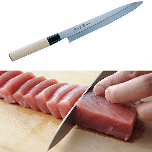 刺身包丁 燕三条製造 片刃で刃先が鋭利なので、綺麗に刺せます 210mm 専用箱入れ