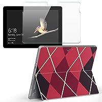 Surface go 専用スキンシール ガラスフィルム セット サーフェス go カバー ケース フィルム ステッカー アクセサリー 保護 チェック・ボーダー チェック ピンク 黒 004225