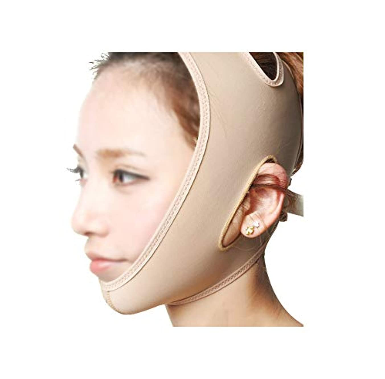 XHLMRMJ フェイスリフティングバンデージ、フェイスマスク3Dパネルデザイン、通気性のある非通気性、高弾性ライクラ生地フィジカルVフェイス、美しい顔の輪郭の作成 (Size : M)