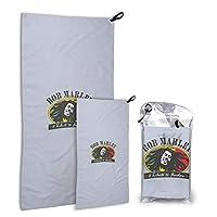 Bob Marley ボブ·マーリー 速乾性タオルスポーツタオルツーピース収納袋マイクロファイバーバスタオル超吸収性のソフトで耐久性のある軽量スポーツ旅行家族の屋外スイミング