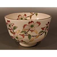 茶道具 抹茶茶碗  色絵 花水木画、京焼 相模竜泉作