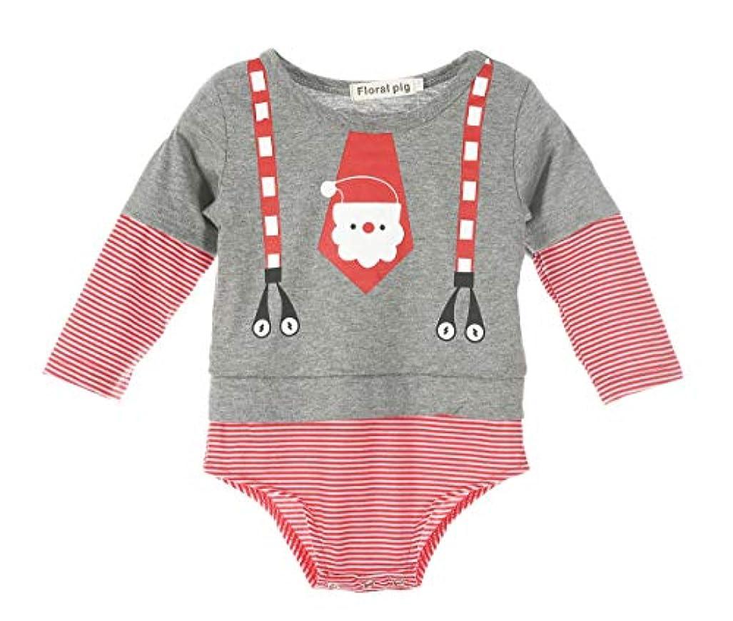 絞るけがをするぬれたクリスマス新生児の男の子女の子のストライプコットンロンパースボディスーツコスチューム衣装 (90cm)