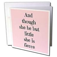 Xander 面白い引用句 – そして彼女は少し小さいが、彼女は婚約、ピンクの黒文字- グリーティングカード。 Individual Greeting Card