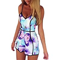 Lookatool Women's V-Neck Floral Casual Jumpsuit Playsuit Rompers Trousers