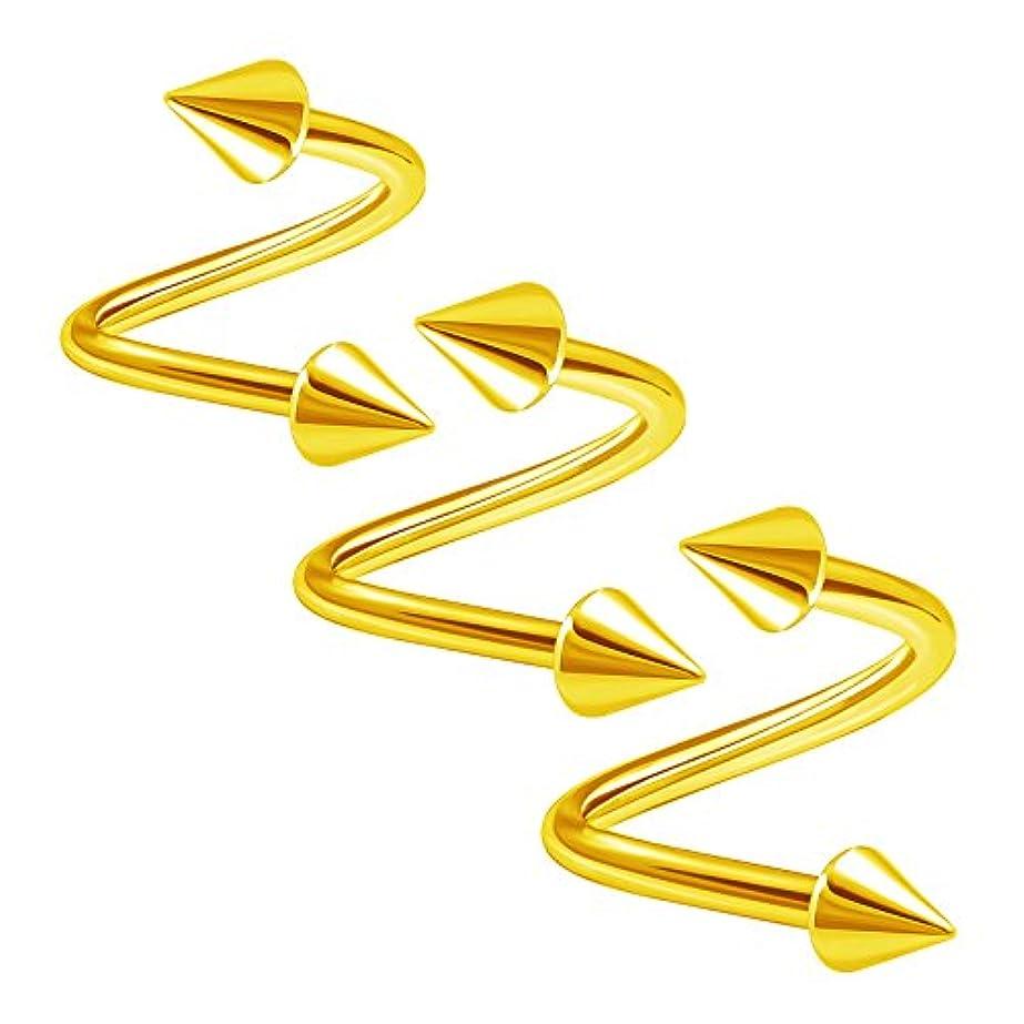 財団望む遠洋の3pcsスチール陽極酸化Twistedバーベル14ゲージ8 mm 10 mm 12 mm 4 mmスパイクLobe Rim EyebrowイヤリングAuricleピアスジュエリー3004