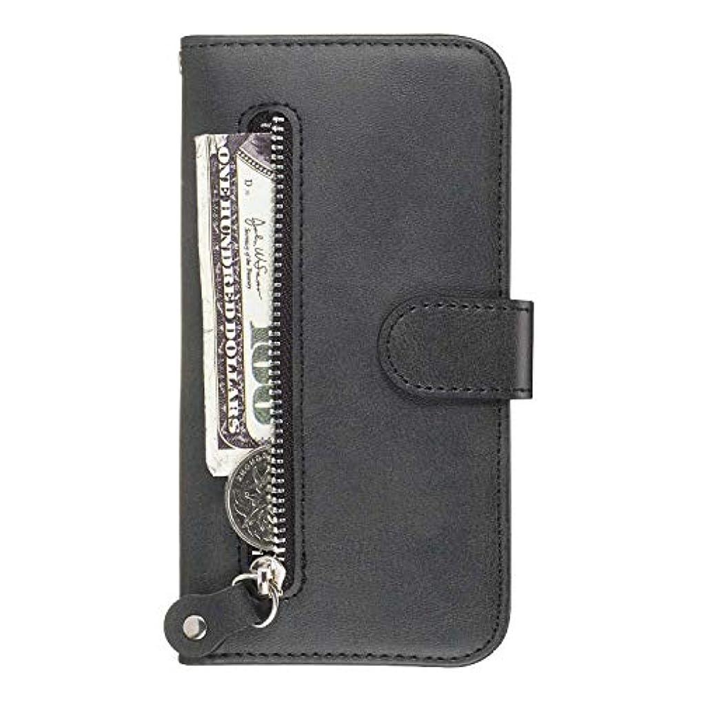 カカドゥ降臨超えるOMATENTI Galaxy M20 ケース, 軽量 PUレザー 薄型 簡約風 人気カバー バックケース Galaxy M20 用 Case Cover, 液晶保護 カード収納, 財布とコインポケット付き, 黒