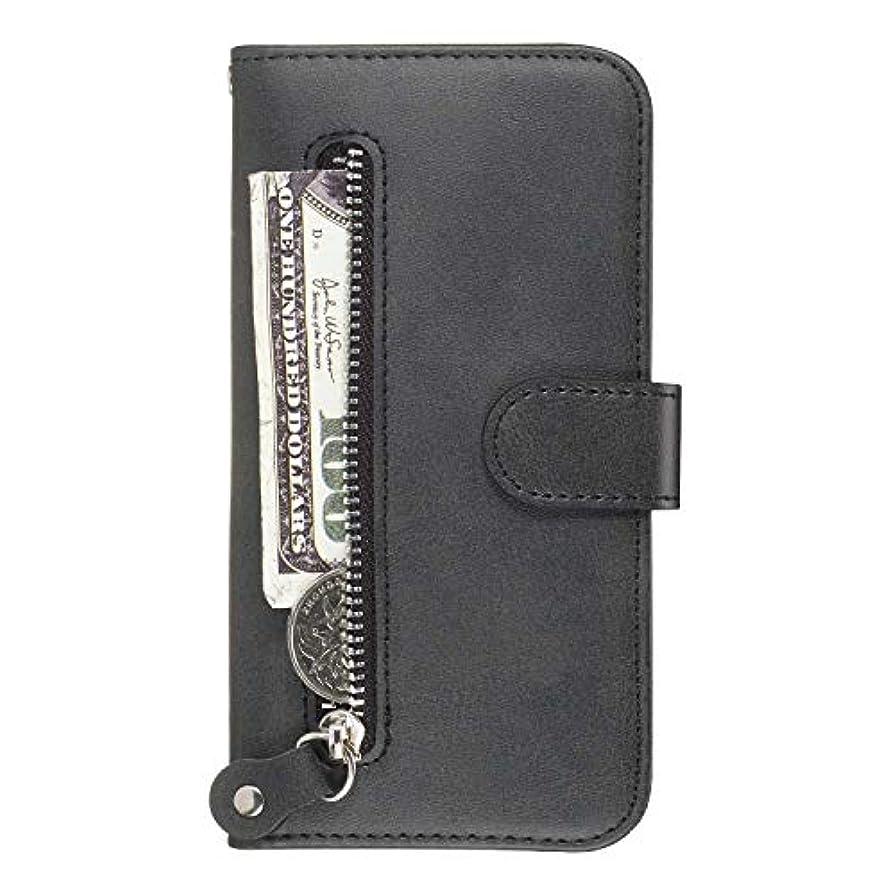 子犬道セラーOMATENTI Galaxy M20 ケース, 軽量 PUレザー 薄型 簡約風 人気カバー バックケース Galaxy M20 用 Case Cover, 液晶保護 カード収納, 財布とコインポケット付き, 黒