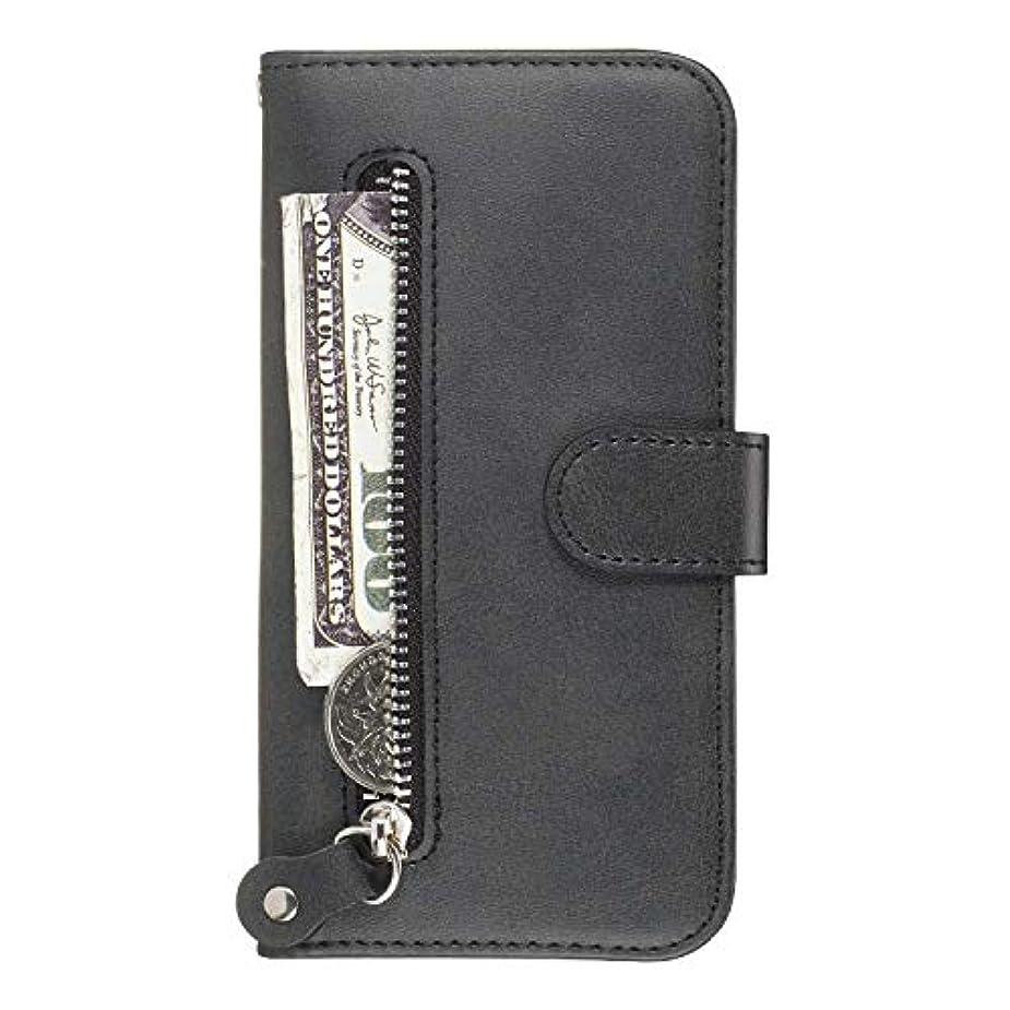 安全虚偽専門OMATENTI Galaxy M20 ケース, 軽量 PUレザー 薄型 簡約風 人気カバー バックケース Galaxy M20 用 Case Cover, 液晶保護 カード収納, 財布とコインポケット付き, 黒