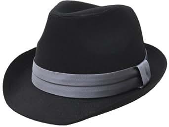 (エクサス)EXAS (大きめ62cm)ブラックボディー無地サテンリボン中折れハット(中折れ帽子) ブラックグレー