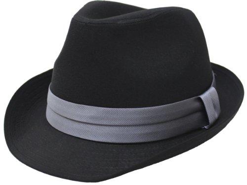 (エクサス)EXAS (大きめ62cm)ブラックボディー無地サテンリボン中折れハット(透明な帽子置き付き) ブラックグレー