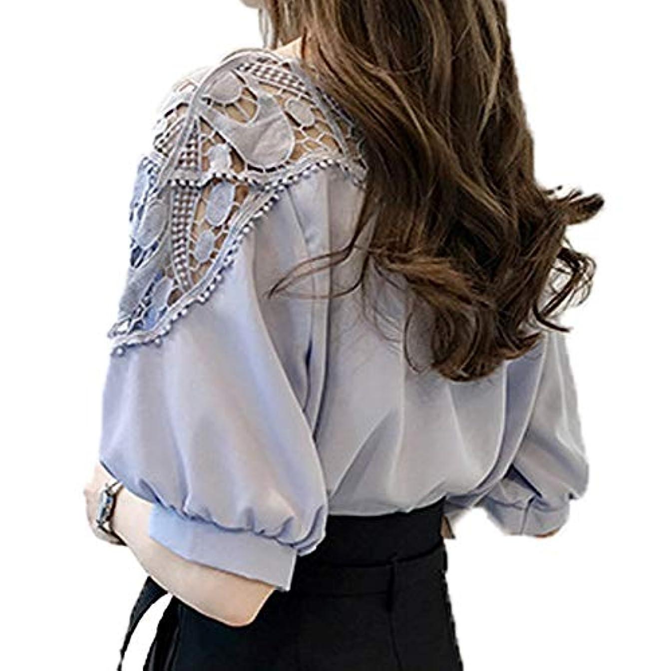 急勾配の桃こどもの宮殿[ココチエ] ブラウス レディース レース 肩出し 半袖 おしゃれ かわいい とろみ バルーン袖 5分袖 花柄 ゆったり
