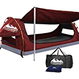WEISSHORN King Single Swag Camping Swag Canvas Tent