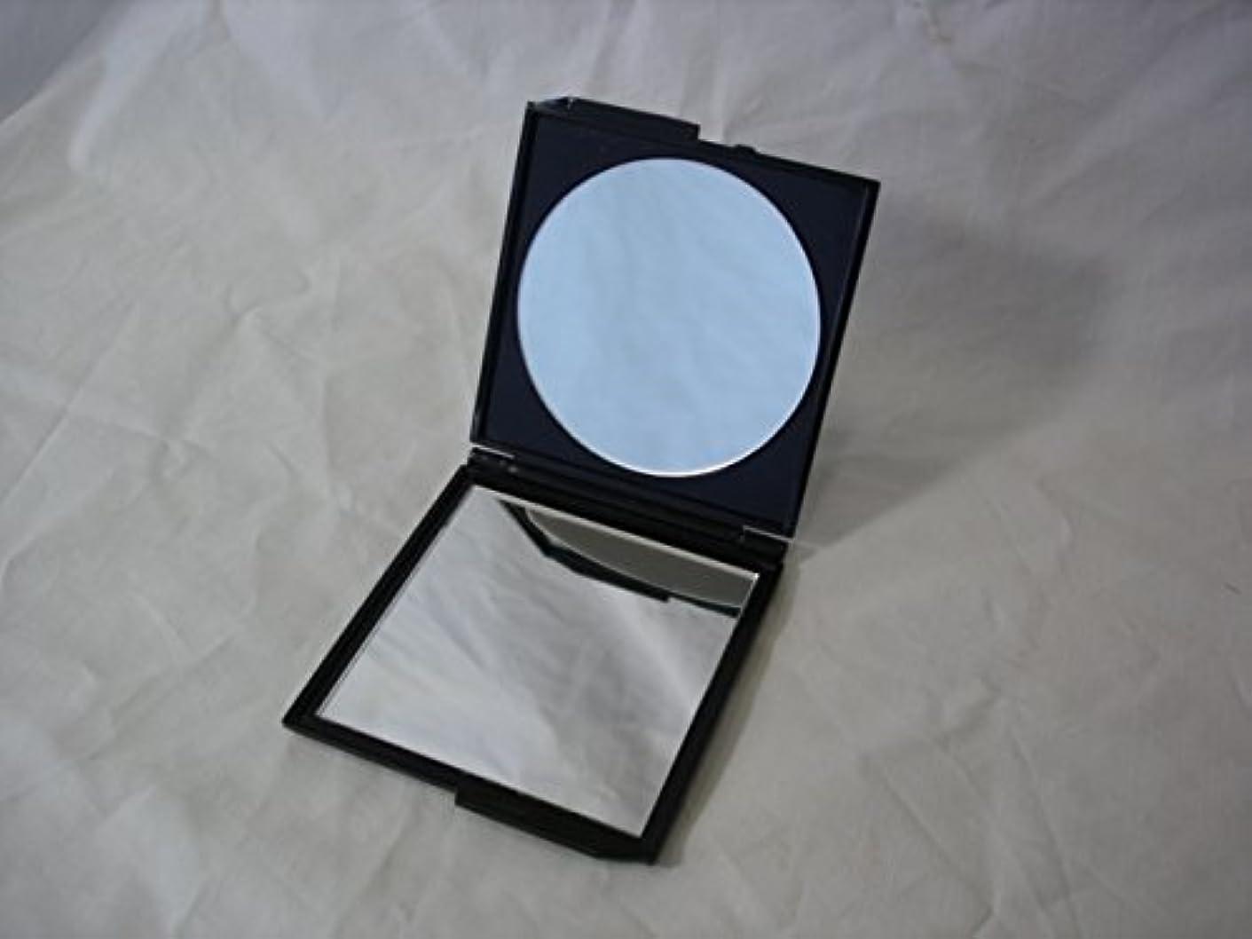 しなやかな補助金サスペンション日本製コンパクトミラー2倍拡大鏡付角型ブラック