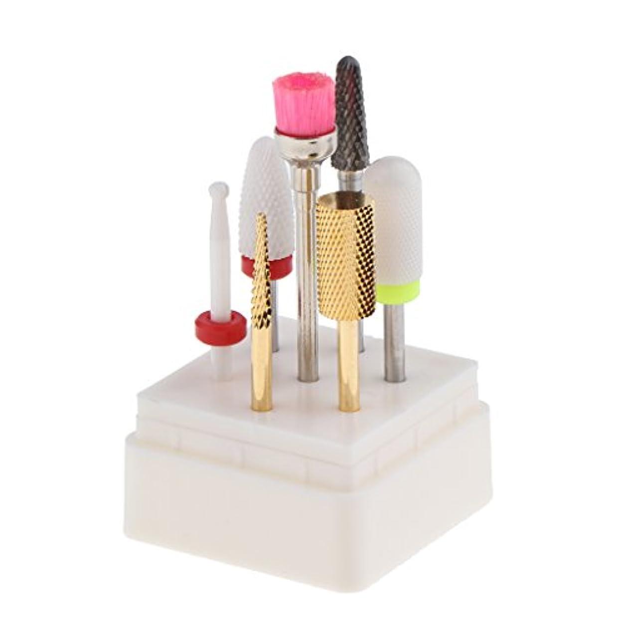 買う争うクライマックスToygogo 7ピース/個美容院セラミックネイルアートポリッシングヘッド電動ドリルビット3/32インインロータリーファイルロータリーファイルトップグラインドアクリルゲル除去グリット