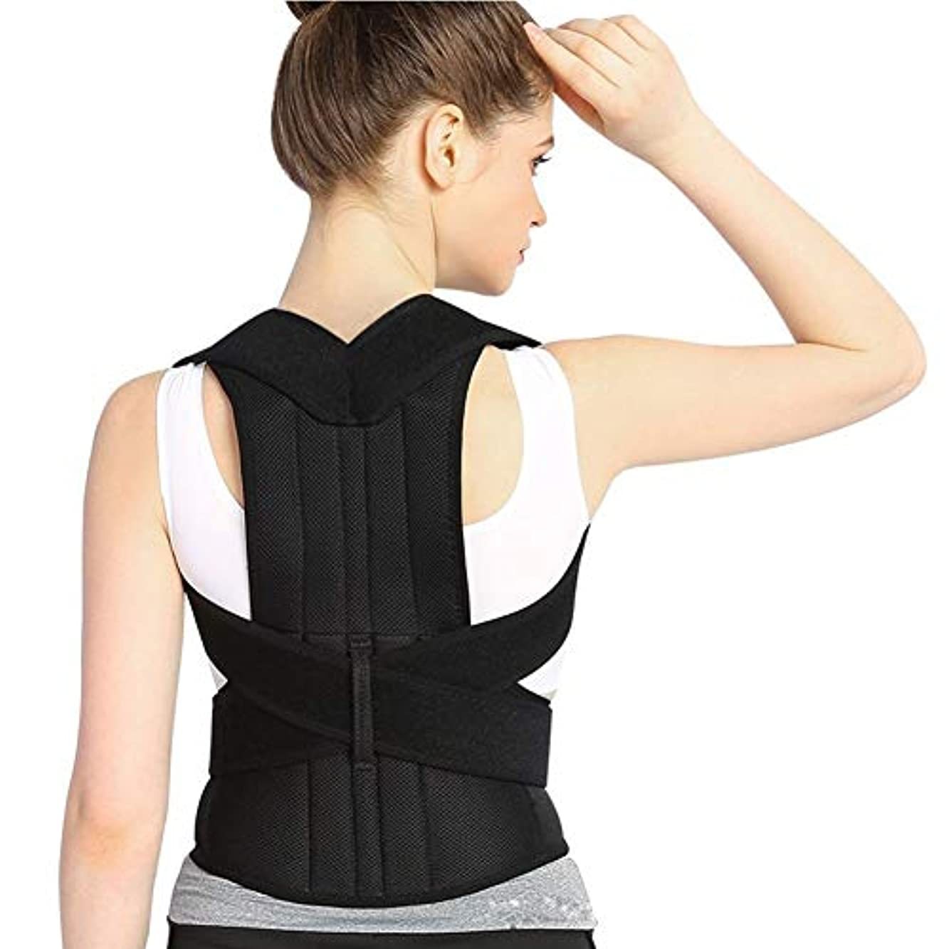 心理的パイプラインアウターJYSD 女性と男性のための姿勢補正器と背中のサポートブレース、鎖骨のサポートブレースは、肩のサポート、背中の上部と首の痛みの緩和に最適です (Size : L)