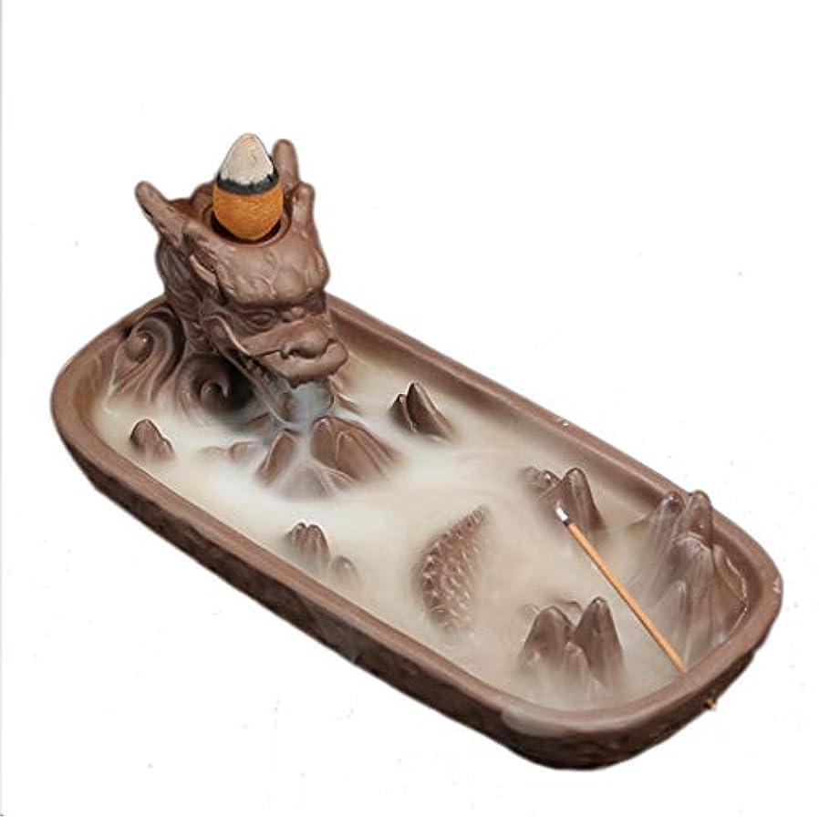 セラミックドラゴンセンサー家の装飾クリエイティブ煙逆流香バーナー香スティックホルダー香コーン香香ホルダー 芳香器?アロマバーナー (Color : Brown, サイズ : 6.61*3.14*2.67 inches)