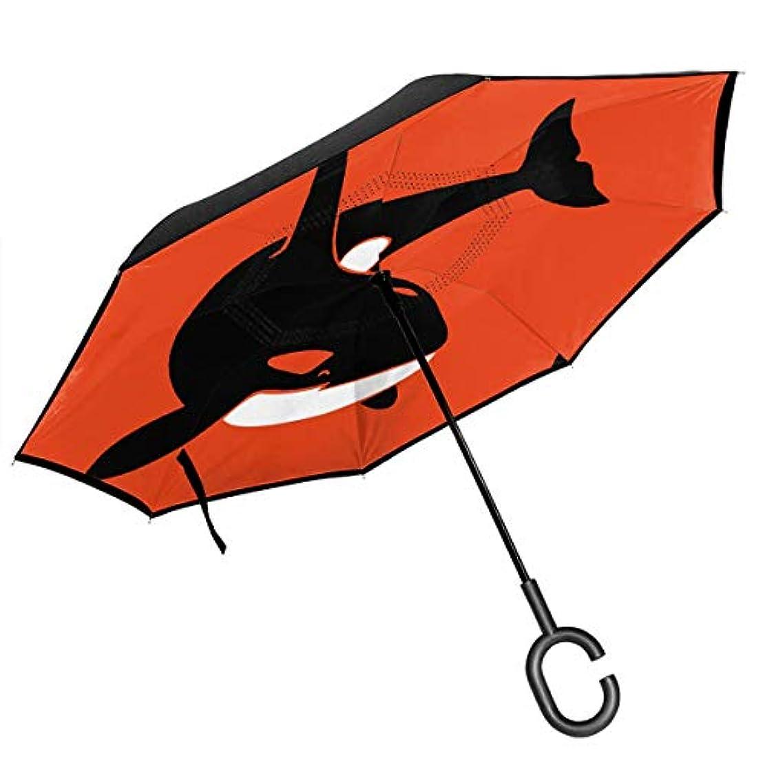 ダウンタウン令状同一のシャチホエールシャチイルカブラックフィッシュオーシャン 逆さ傘 逆折り式傘 車用傘 耐風 撥水 遮光遮熱 大きい 手離れC型手元 梅雨 紫外線対策 晴雨兼用 ビジネス用 車用 UVカット