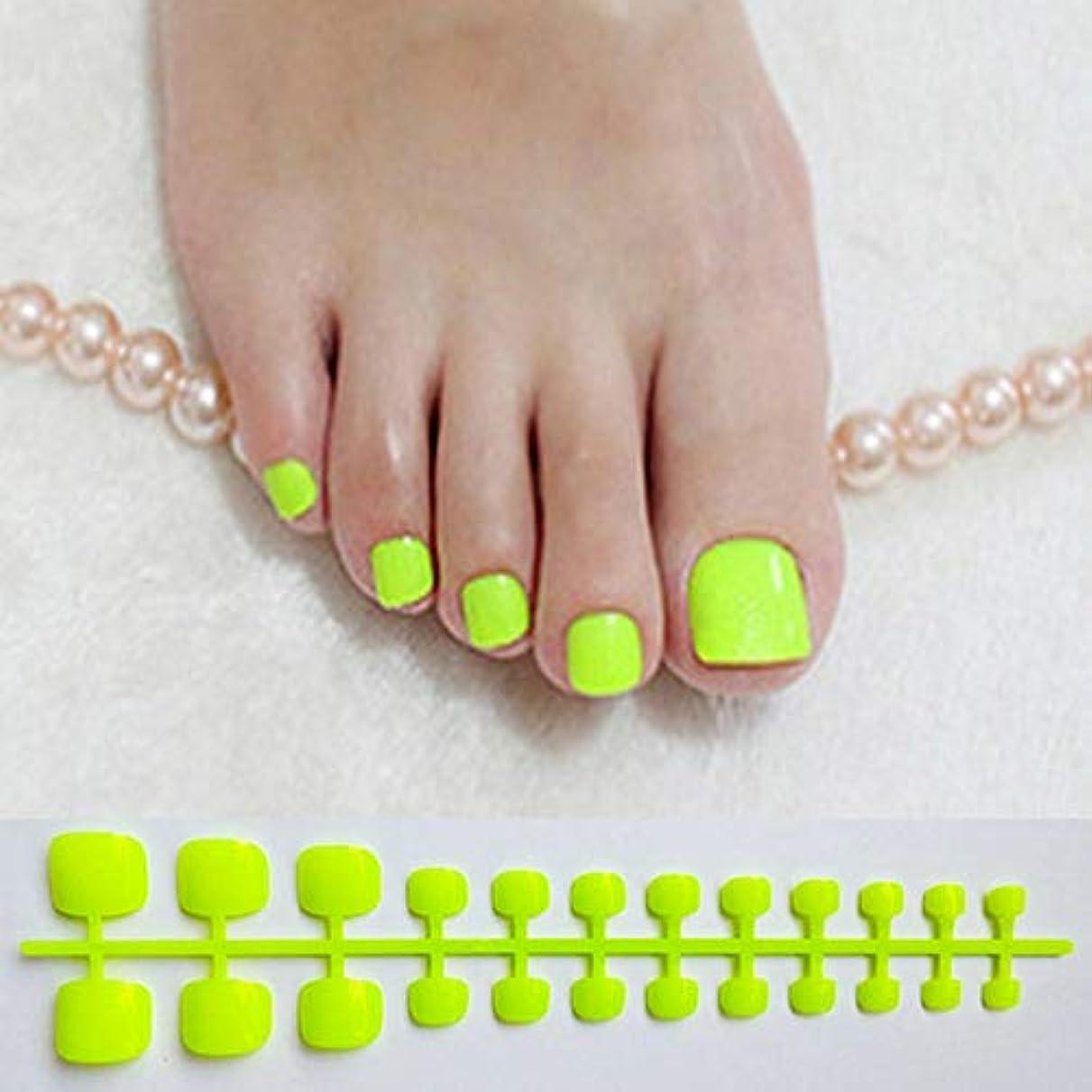 二次主導権ご注意XUTXZKA 人工爪色の爪の明るい緑の偽のつま先の爪の広場