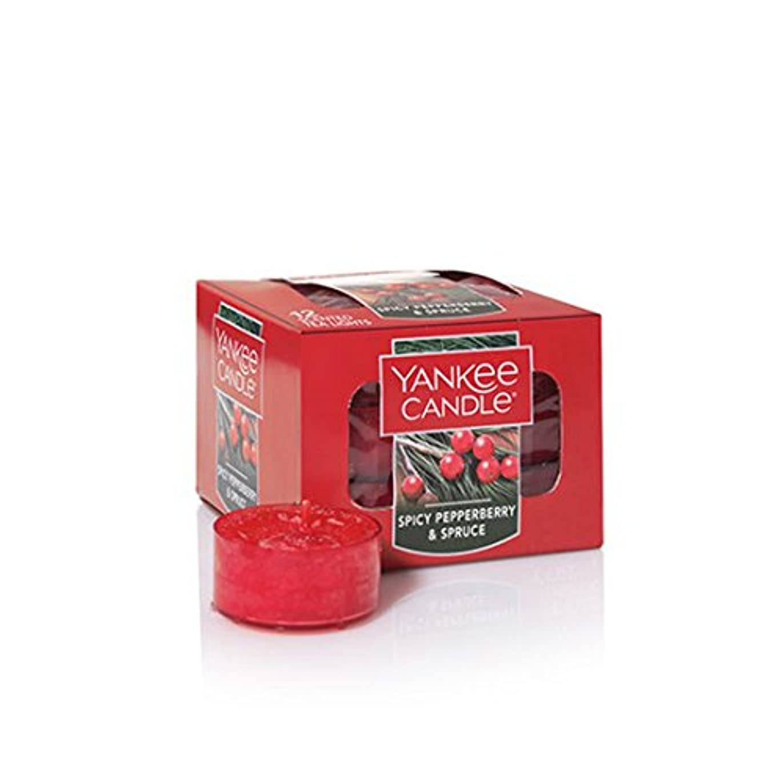 窒素本当に影Yankee Candle Spicy Pepperberry & Spruceティーライトキャンドル