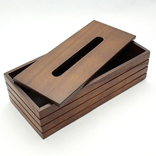 木製 チェリーウッド ティッシュ カバー ケース ダークブラウン 約28.5×13.5×7.5cm 16-29DBR