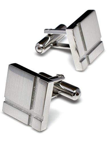 [タバラット] 日本製 カフス 真鍮製 サテーナ×ホーニング加工 カフリンクス (シルバー) Tps-039-sv