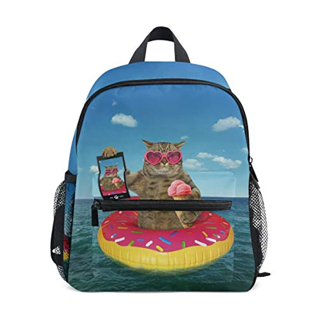 群衆ドール一般化するVAWA キッズリュック 子供用 リュックサック おしゃれ かわいい 猫柄 面白い 海 泳ぎの猫 軽量 キッズバッグ 女の子 大容量 防水 小学生 アウトドア 通学 通園