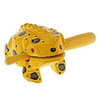 P Prettyia カエル スティック 動物のモデル 木製 カエル楽器タイ伝統 工芸 全6色 - 黄
