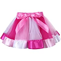iEFiEL Kids Girls Layered Tulle Rainbow Ruffle Tutu Skirt for Ballet Dance Birthday Party