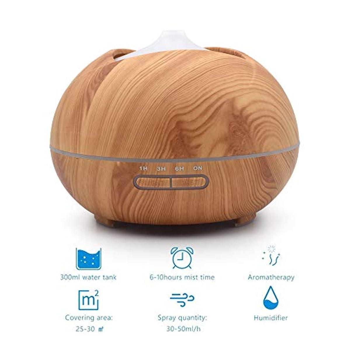 蒸気脅威調和のとれた木目クールミスト加湿器、500ミリリットルアロマセラピーディフューザー付き2ミストモードささやき静かな加湿器用寝室、ホーム、オフィス,lightwoodgrain