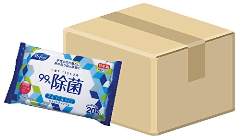 (ケース販売) 日本製 リファイン アルコール除菌 大判ウェットティッシュ 20枚入×36個セット(計720枚) LD-112