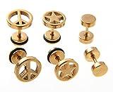 ピース & スター & バーベル チタン ピアス 3種 セット レディース メンズ 両耳用 医療用 金 ゴールド gold