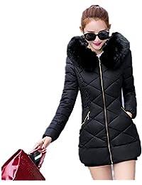 Showlovein レディース冬物 フード付きロングジャケット 綿ダウンジャケット 防風 ひざコート大きいサイズ