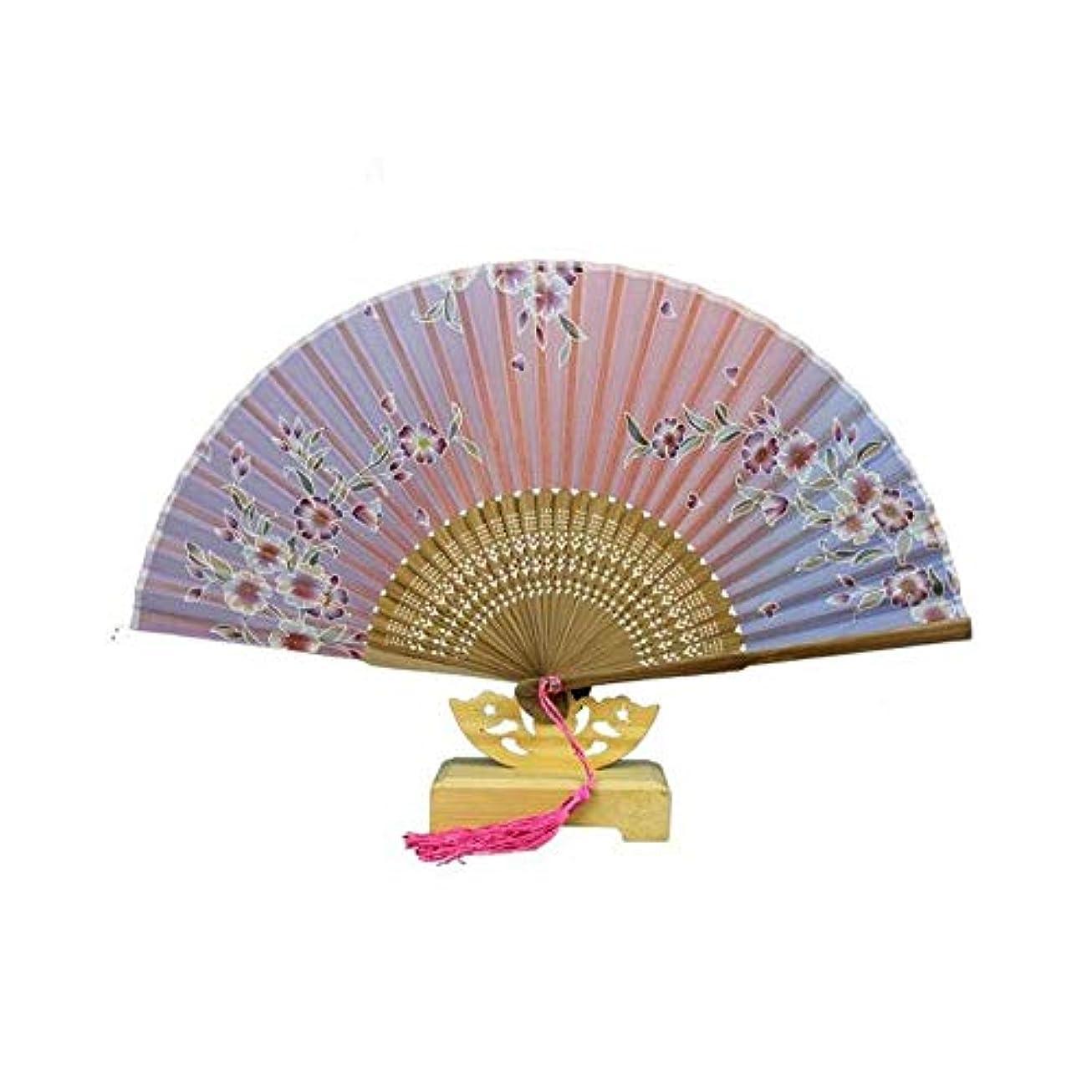 しかしスピンマイクロフォンQIANZICAI ファン、中国風のシルク扇子、ダンスの小道具、ホームアクセサリー、サイズ21cmの折りたたみ。 ファン (Color : Pink)