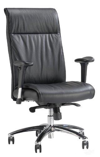 TSマテリアル(ティーエスマテリアル) 仮眠も取れる高級本革ハイバックチェア オフィスチェア EF-4500BK(ブラック黒)