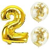 Big Hashiお誕生日パーティー 風船 飾り付け バルーンx2個 ゴールド 数字2バルーン x1個 風船セット(sz-02)