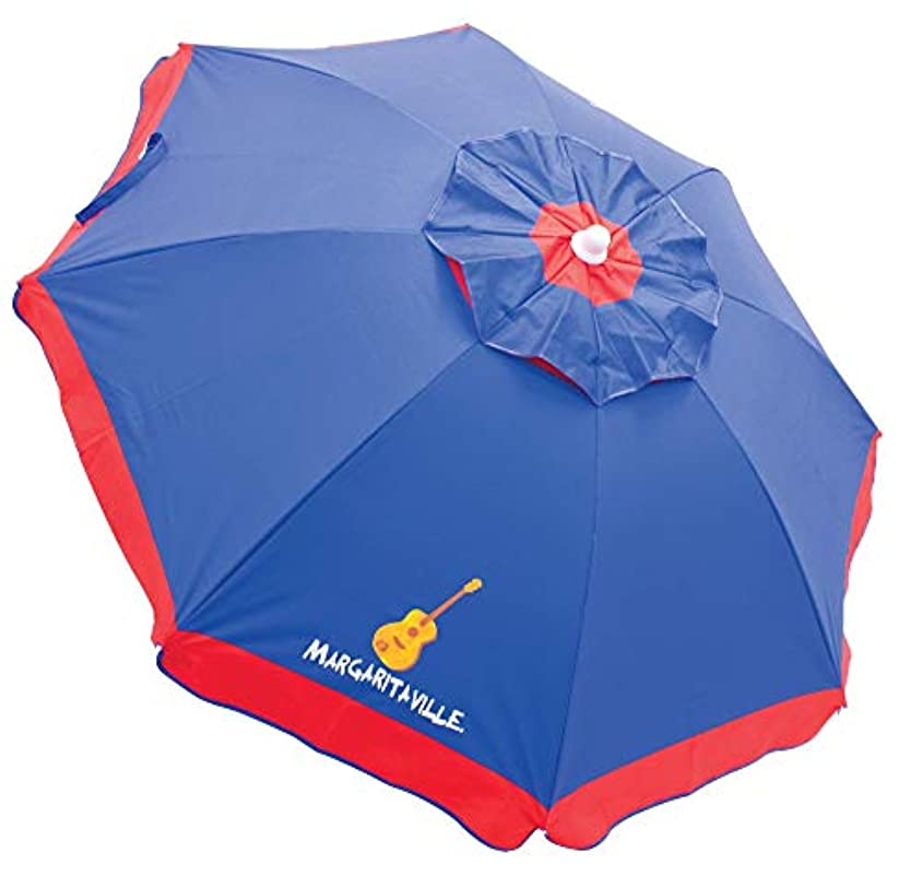 微生物光沢のあるパパRio Margaritaville 6' Beach Umbrella with Built in Sand Anchor - Blue with Red Border