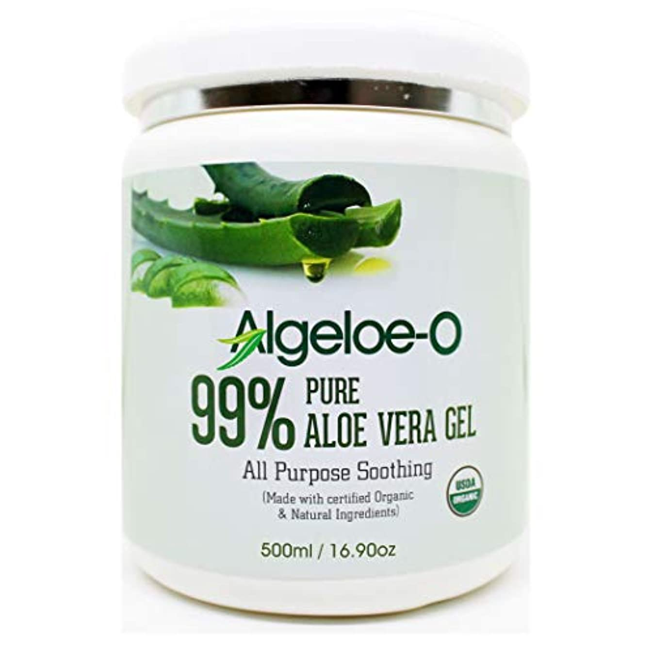 床親密なブレースAlgeloe-O  Organic Aloe Vera Gel 99% Pure Natural made with USDA Certified Aloe Vera Powder Paraben, sulfate free...