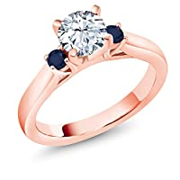 Gem Stone King 1.46カラット 合成ホワイトサファイア (ダイヤのような無色透明) 天然 サファイア シルバー925 ピンクゴールドコーティング 指輪 リング