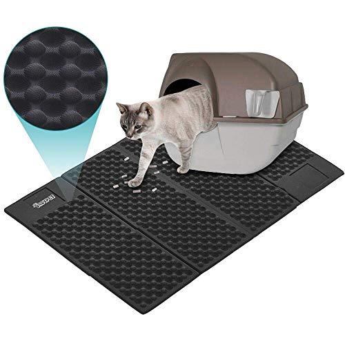 Dadypet 猫マット 猫砂マット 猫トイレマット 猫の砂取りマット 折りたたみ 飛び散り防止マット 滑り止めマット 清潔簡単 超大サイズ 72x 46 cm (ブラック)