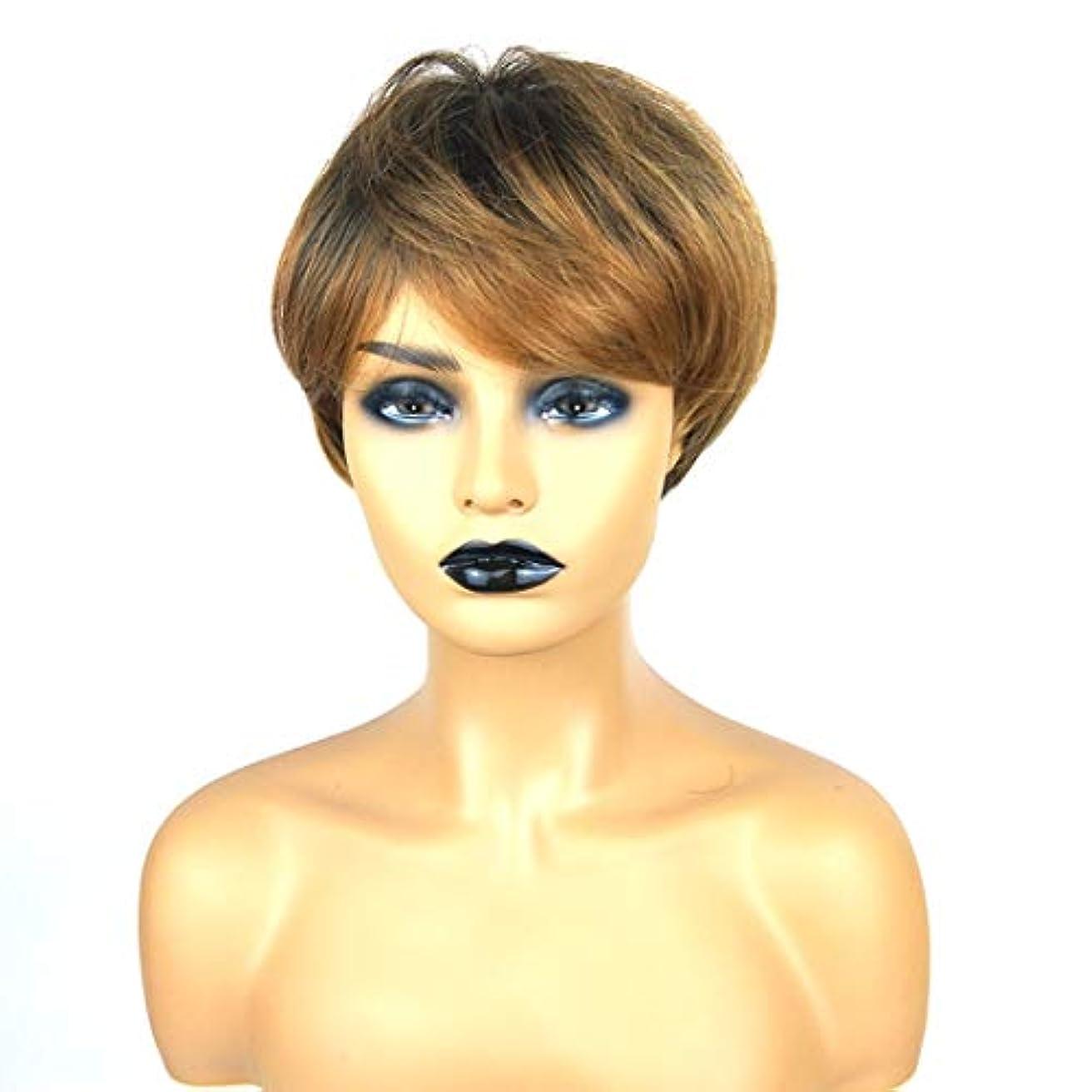 タンザニア正直文明化Kerwinner ショートボブの髪の毛のかつら本物の髪として自然な女性のための合成かつらとストレートウィッグ