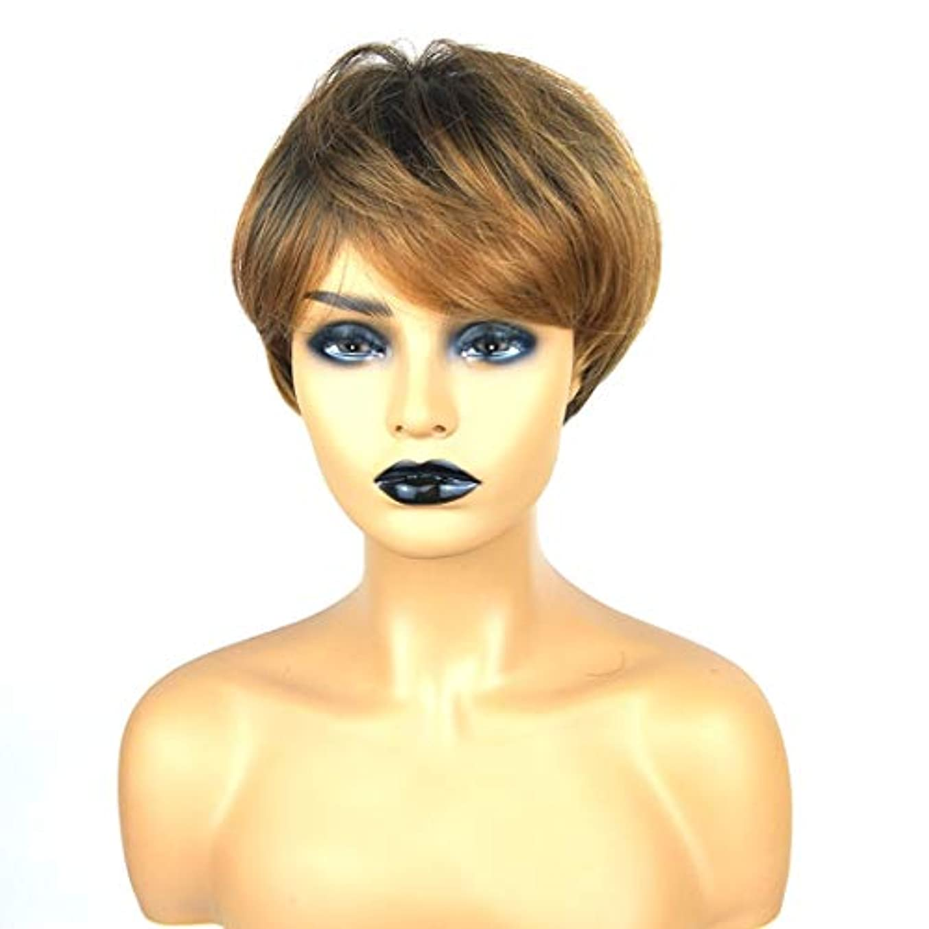 振り向くドラゴンジョージスティーブンソンKerwinner ショートボブの髪の毛のかつら本物の髪として自然な女性のための合成かつらとストレートウィッグ