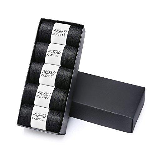 PASEKO 靴下 メンズ ソックス ビジネスソックス 5足/10足セット 銀イオン ソックス 抗菌防臭 通気性抜群 リブソックス 24-28㎝(ブラック 5足)
