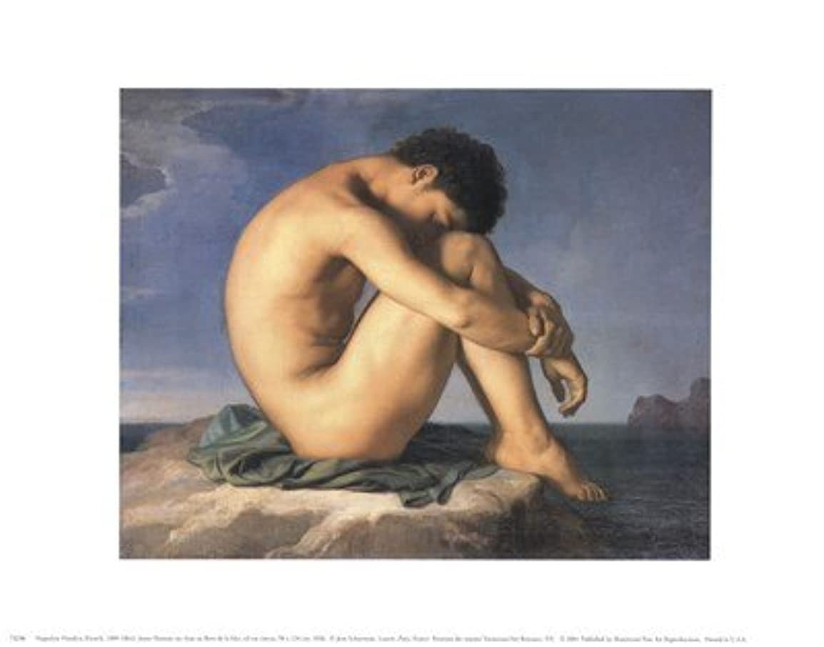 Jeune Homme nu Assis Au Boro de la Mer by Hippolyte Flandrin – 14 x 11インチ – アートプリントポスター LE_58691
